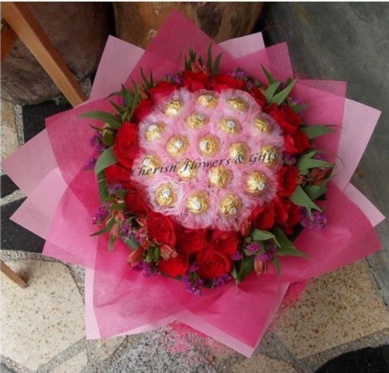 CB26 - 21 Roses & 18 Choc Bouquet