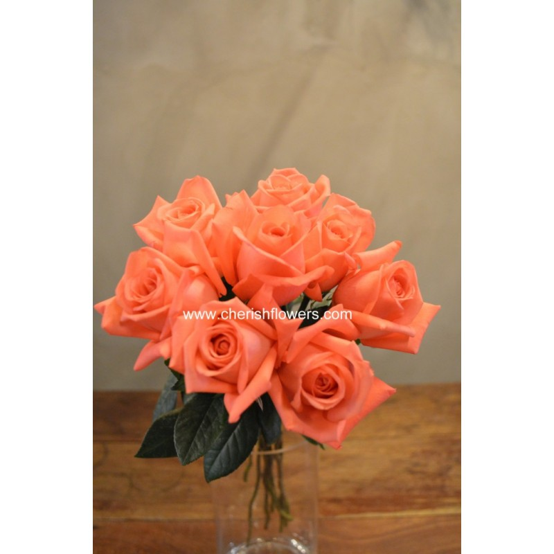 LF04 - Orange Pink Rose (10 stalks)