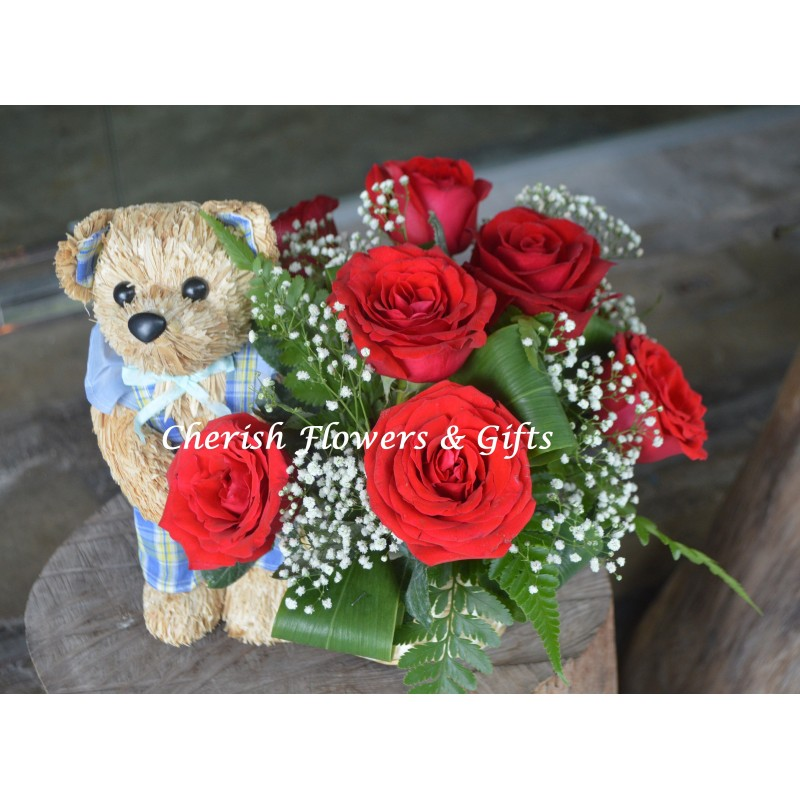 FA02 - Teddy Box Arrangement with Flower