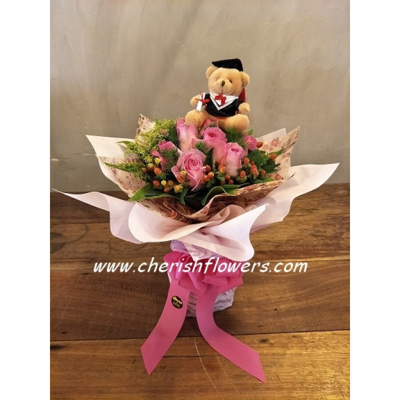 GB03 - Pink Roses Grad Bouquet