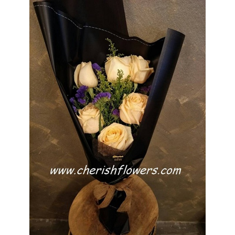 HB02 - Champagne Roses with Purple Static