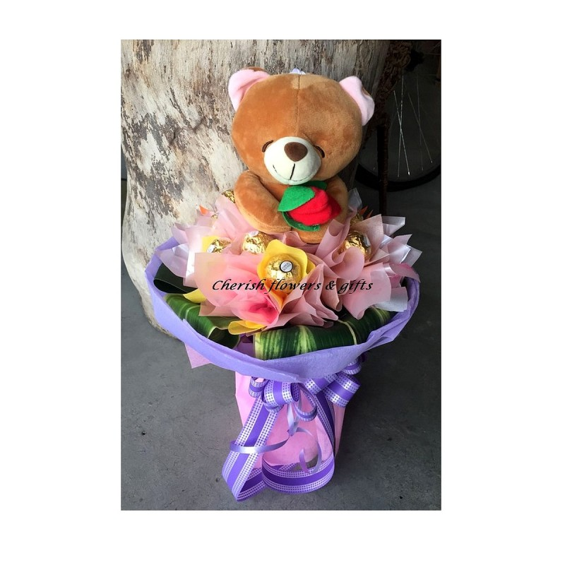 CB25 - Bear & Choc Bouquet (Best Buy)