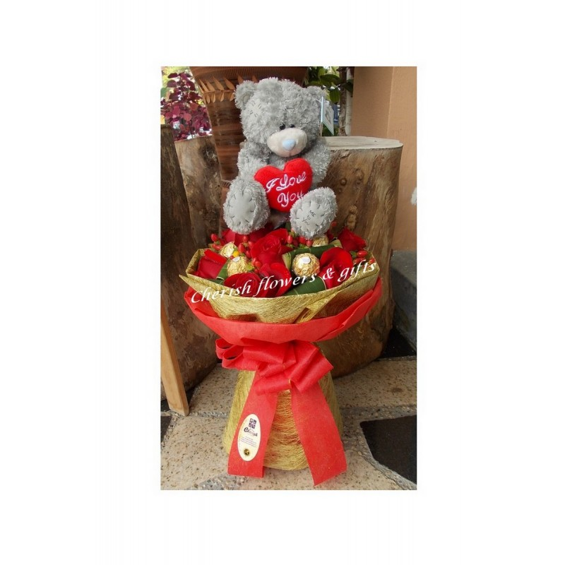 ST09 - Choco, Roses with Bear Bouquet