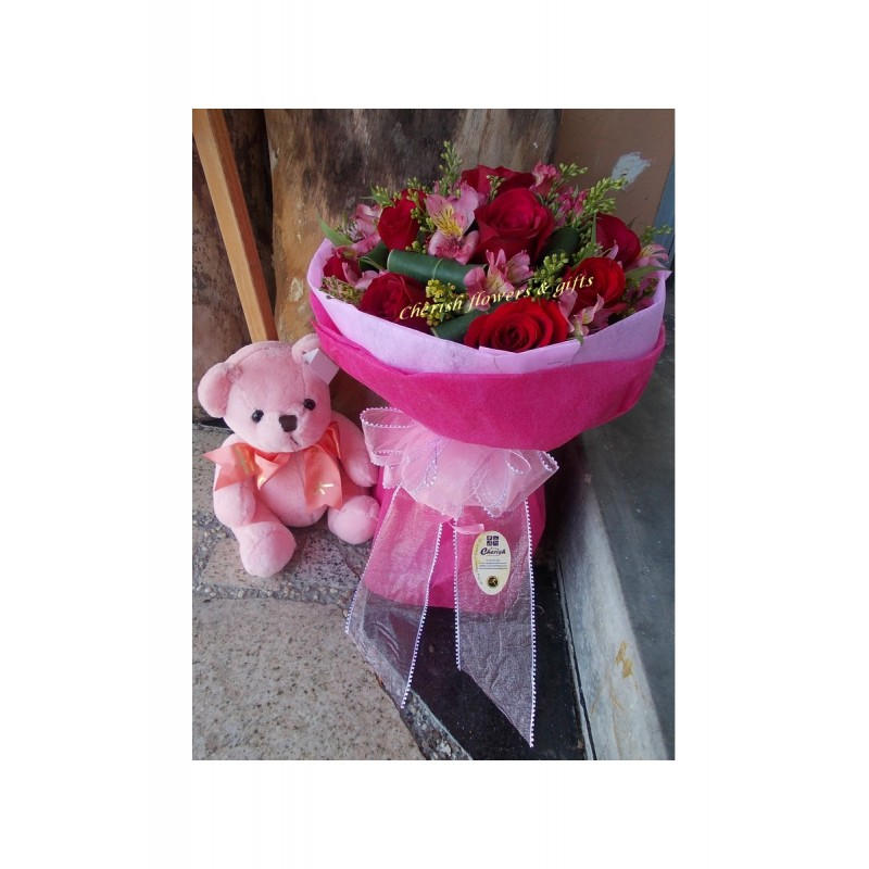 ST15 - Pink Teddy with Roses Bouquet